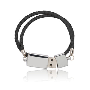 USB Bracelet (Black Leather) - By Nordvik