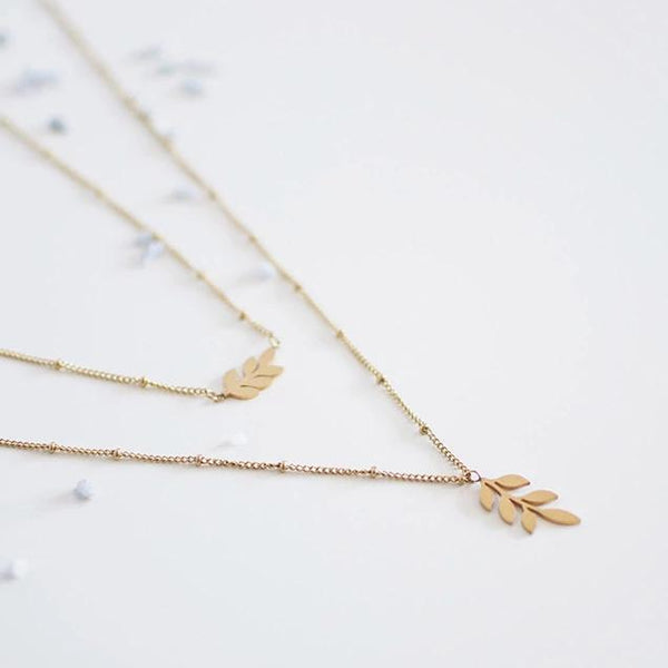 Layered Leaf Necklace - By Nordvik