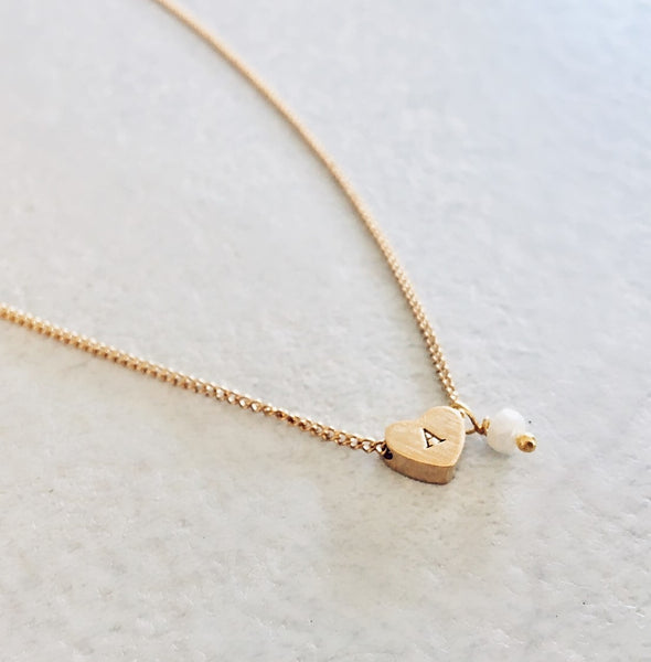 Initial Heart Pendant Necklace - By Nordvik