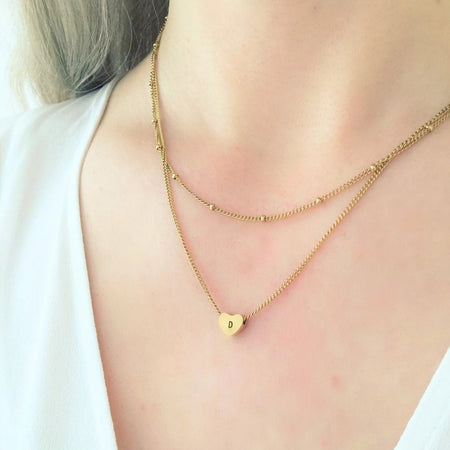 NEW Layered Initial Heart  Necklace - By Nordvik