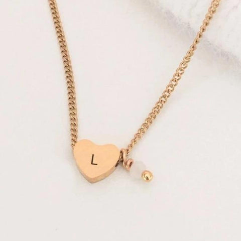 NEW Simple Initial Bead Heart Necklace