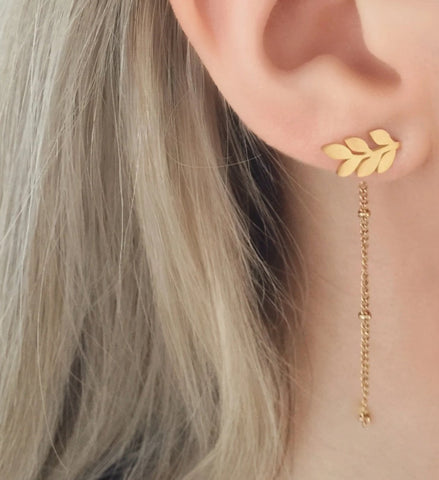 NEW Leaf Chain Earrings - By Nordvik