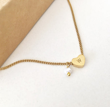 Initial Heart Charm Necklace