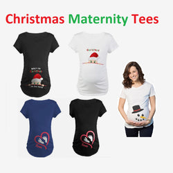 Christmas Maternity T'Shirts | Funny Short Sleeve Women Casual Cotton Maternity Clothes