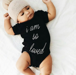 I am so loved' Newborn Baby Boys or Girls Short Sleeve Cotton Romper Jumpsuit 0-24M