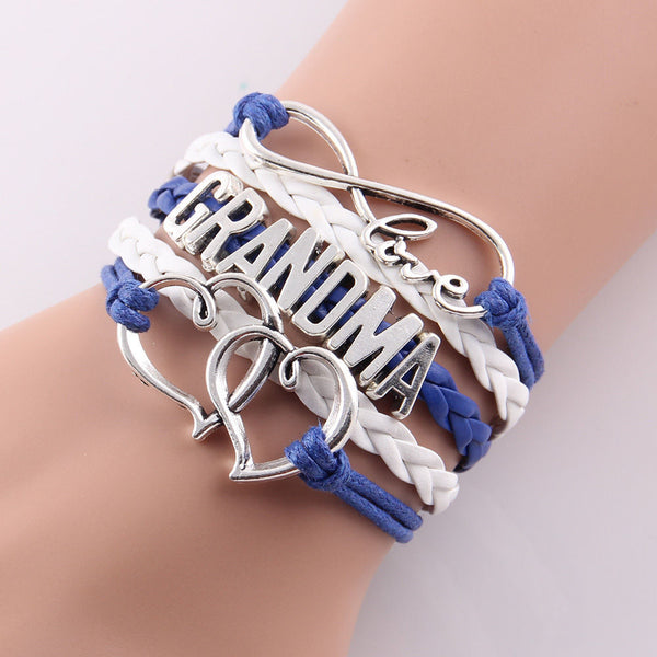 Infinity love grandma bracelet gift heart feet charm Rope Bracelet for women Leather bracelets