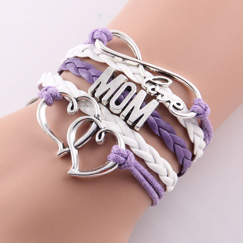 Infinity love mom bracelet gift with heart charm