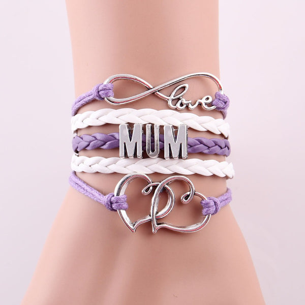 Infinity love 'MUM' Bracelet with heart charm, great Mother's Day gift.