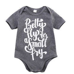 Baby Jumpsuit 'Pretty Fly for a small fry' Casual Baby Romper Gray Color Letter Printed Jumpsuit