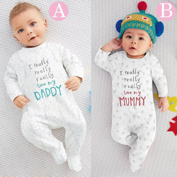 Baby rompers jumpsuit, newborn winter baby clothes 'I love Mummy/Daddy'