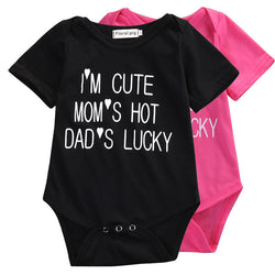 FREE SHIPPING Baby Jumpsuit 'im cute, moms hot, dads lucky, PINK or BLACK