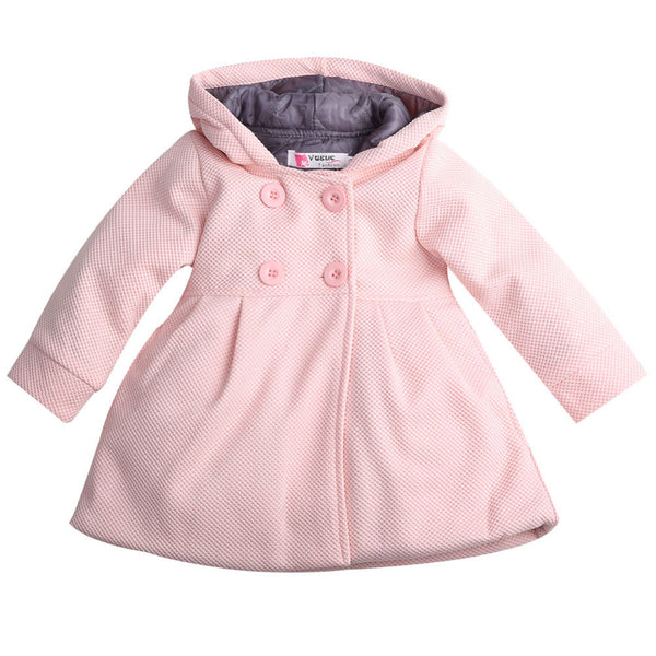 Fashion Baby Toddler Girl Autumn Winter Warm Horn Button Hooded Pea Coat Outerwear Jacket