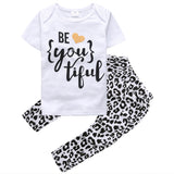 2Pcs Toddler Infant Baby Girls Kids Clothes Letter T-shirt Short Sleeve O Neck Tops+Long Leopard Print Pants Outfits Set