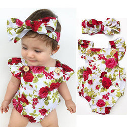 Baby Girls Summer Floral Rompers + headband 2 piece