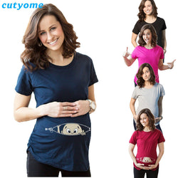 Maternity T-Shirts Cotton Baby Printed Short Sleeve Loose Tank Tops