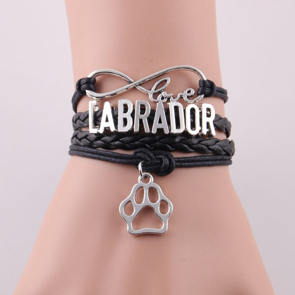 Infinity bracelet Labrador with paw charm & leather wrap
