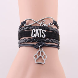 Infinity love CATS bracelet, Beautiful paw charm bracelets.