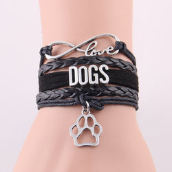 Infinity love DOGS bracelet Animal Pet theme paw charm bracelets & bangles