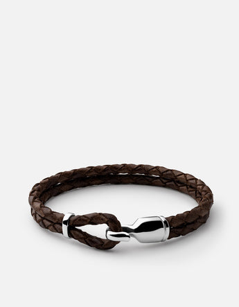 Bracelet - Single Trice w/sleeve, Sterling Silver, Pol, Brown