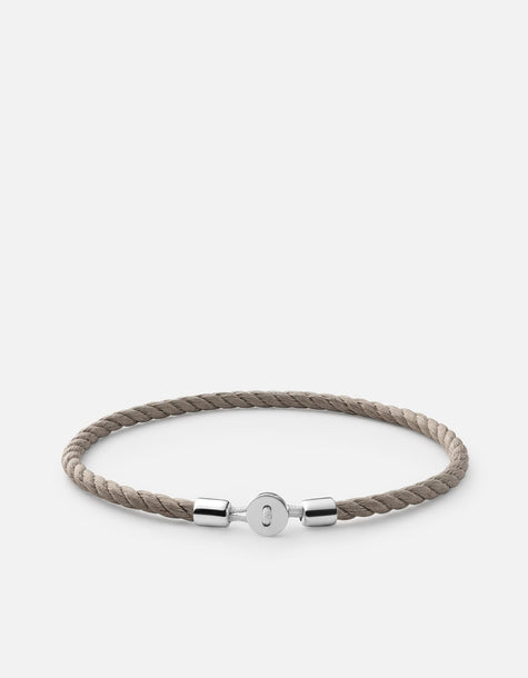 Bracelet - Nexus Rope, Sterling Silver, Pol, Gray Cotton