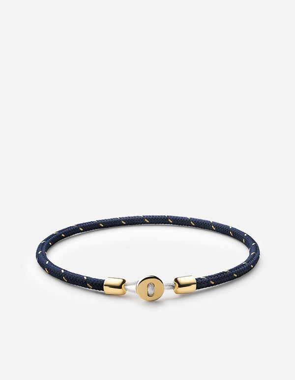 Bracelet - Corde Nexus, Vermeil Or, Pol, Bleu / Or