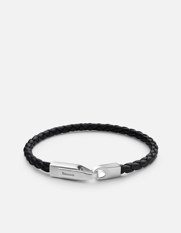 Bracelet - Crew Leather, Matte Sterling Silver, Solid Black