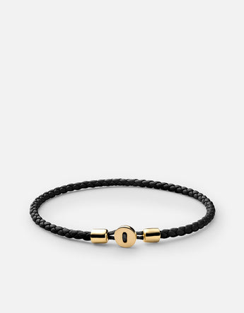 Bracelet - Nexus Leather, Gold Vermeil, Pol, Black