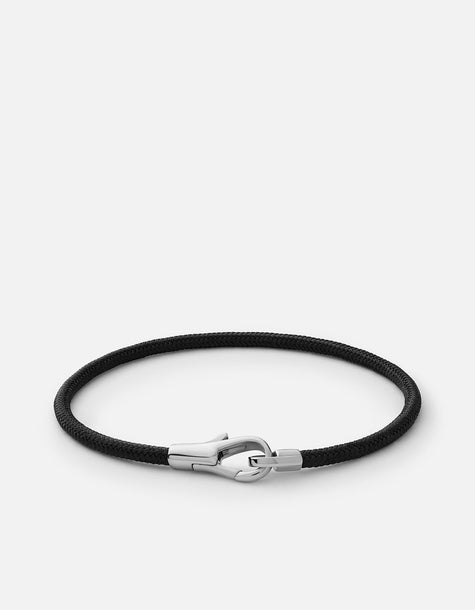 Bracelet - Knox Rope, Sterling Silver, Pol, Solid Black