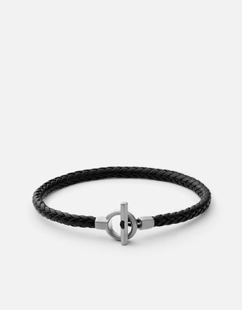 Bracelet - Atlas Leather, Sterling Silver, Matte, Black