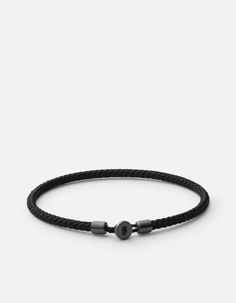 Bracelet - Nexus Rope, Matte Black Rhodium, Solid Black