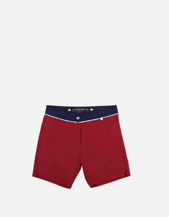 Barth4 - 01. Bordo & Navy Swim Shorts - Barth4 MACKEENE