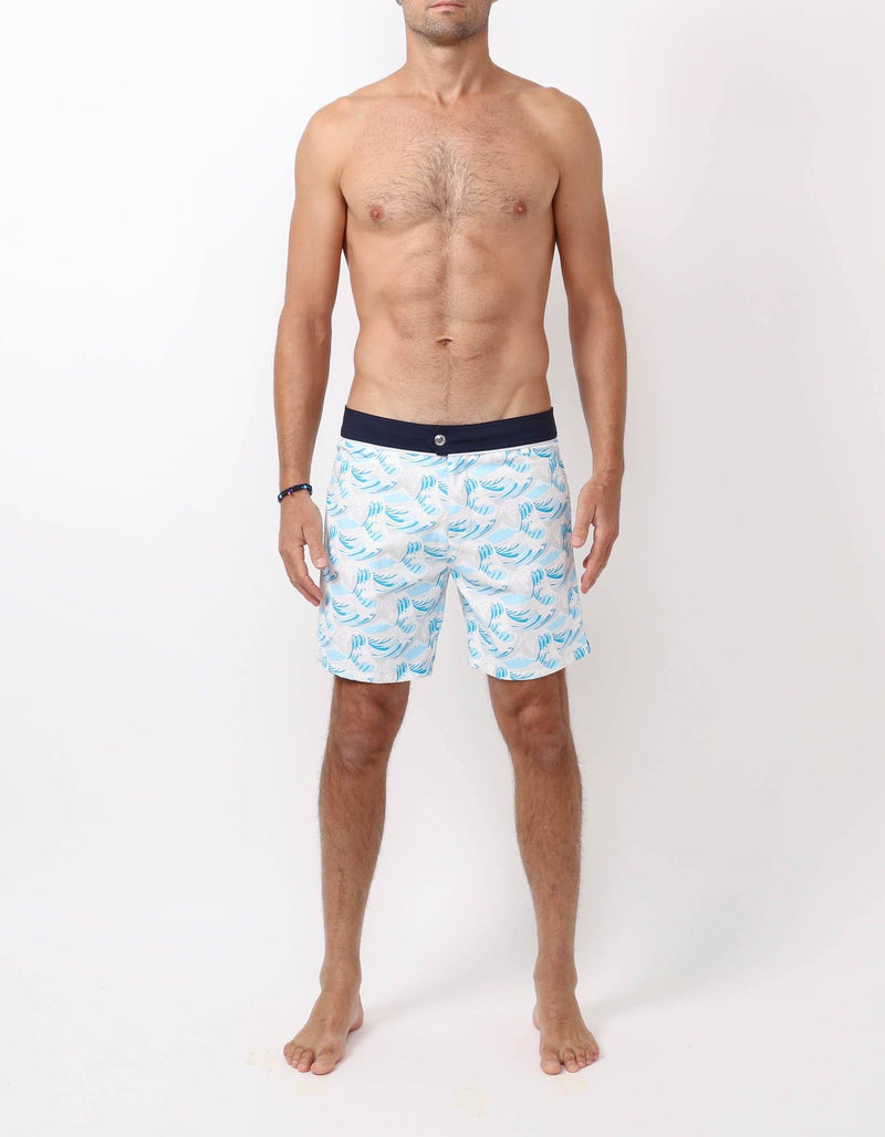 Barth4 - P08. Hokusai Turquoise & Navy Swim Shorts - Barth4 MACKEENE