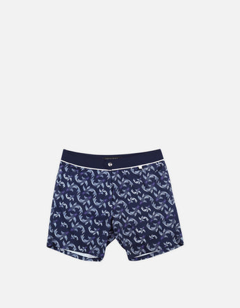 Barth4 - P13. Fish Navy & Bordo Swim Shorts - Barth4 MACKEENE