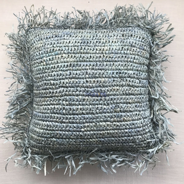 Fringes cushion case Acqua