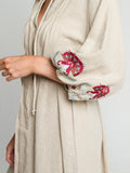 Gypset dress Hand embroidered linen