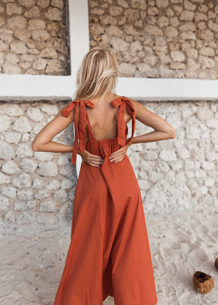 Atenea dress in Sunset Orange