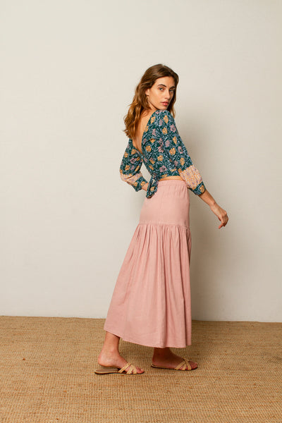 Alexa skirt in Pale Rose linen