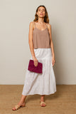 Alexa skirt in hand embroidered cotton