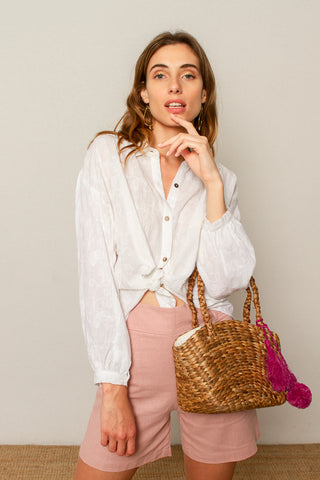 Sofia blouse in hand embroidered white cotton