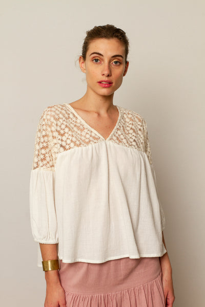 Stella blouse Ivory Tulle