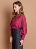 Linda blouse in Berry linen