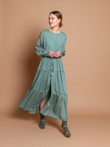 Bianca dress in Jade silk