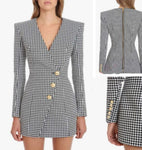Plaid Blazer Dress with diagonal buttons detail