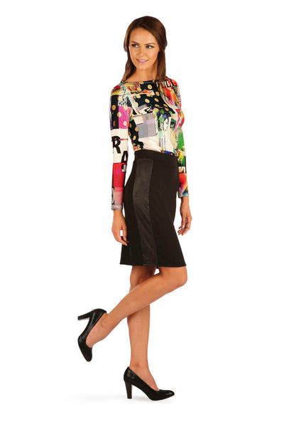 Black Skirt With Pleather Panel - onelike
