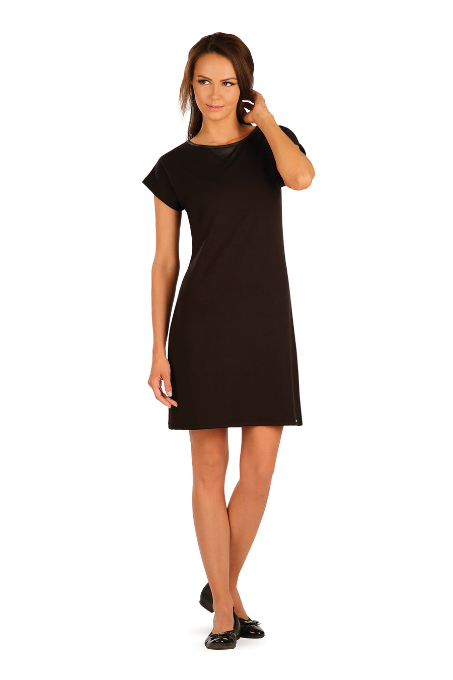 Black Dress With Short Wing Sleeve - onelike