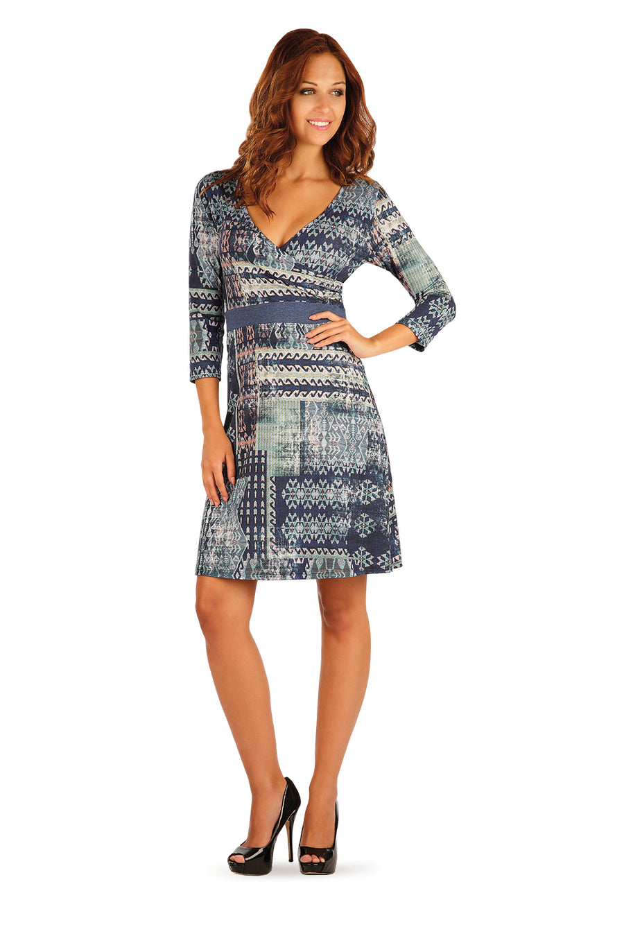 Printed Dress With 3/4 Sleeve - onelike