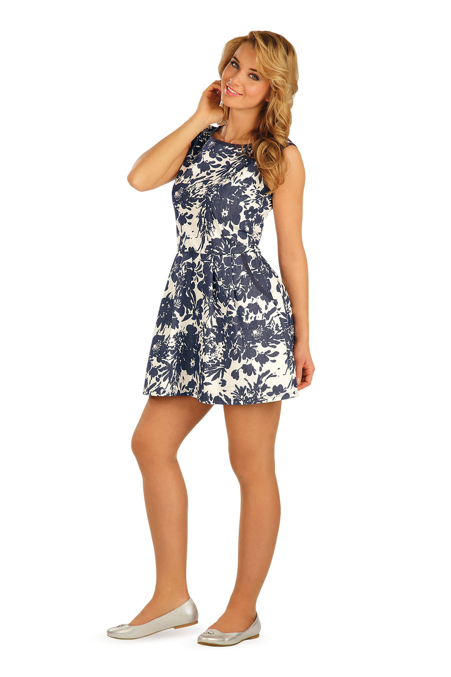 Sleeveless Dress With Blue Flower Print - onelike