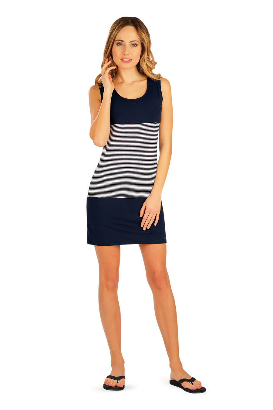 Sleeveless Dress With Navy Blue Stripes - onelike