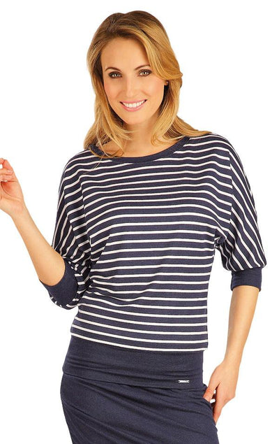Women's Jumper With Navy Stripes - onelike