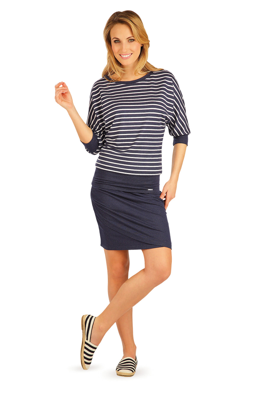 Women's Jumper With Navy Stripes